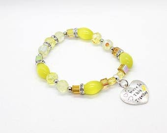 Yellow Awarenss Bracelet - Bladder Cancer - Bladder Cancer Jewelry - Bladder Cancer Ribbons - Bladder Cancer Gifts - Bladder Cancer Bracelet