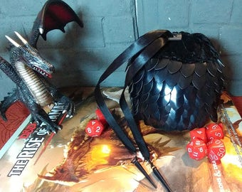 Black Dragonscale Dice Bag