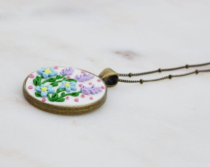 Romantic floral applique handmade pendant