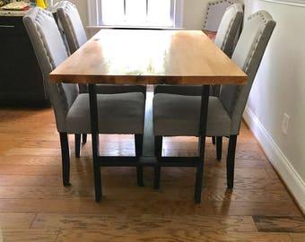White Oak Dinning Table/Kitchen Table/ Metal Table Base/ Handmade Table/  Dinning