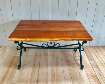 Cherry coffee table/center table/wrought iron/reclaimed live edge