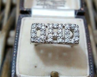 "Vintage 925 sterling silver men's signet ring, ""Dad"", size o, cz, solid silver"
