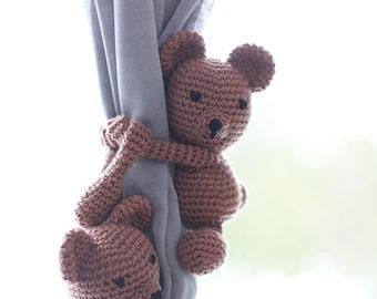 bear curtain tie back, nursery curtain ties, nursery decor, crochet bear amigurumi, curtain tie backs, window curtain tie back, kids decor