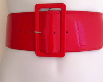 Red belt, retro belt, cinch belt, 80's belt, patent belt, shiny belt, wide belt, ladies belt, vintage style belt, fashion belt, fancy dress