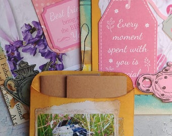 Vintage Pink/Girly  Altered Book Tags and Mini Envelope