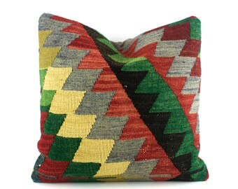 Kilim Pillow Decorative Pillows For Couch 16X16 Kilim Pillow Cover Turkish Rug Pillow Kilim Sofa Pillows Tribal Kilim Pillow Kilim Cushion