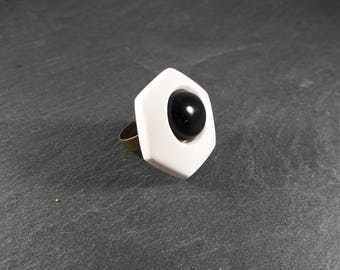 Black and white polymer clay ring