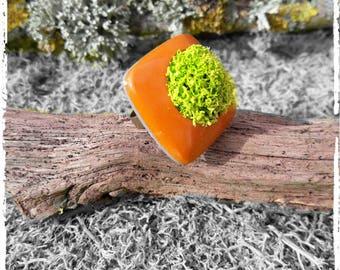 Orange and green greenery designer ring