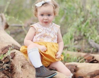Mustard lace baby girls romper playsuit