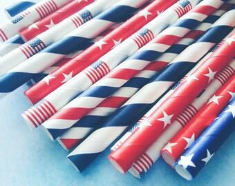 Patriotic. Patriotic Straws. Fourth of July. 4th of July. Paper Straws. America Straws. Red White and Blue Straws. USA Straws. Star Straws.