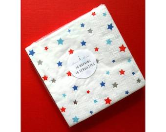 Meri Meri Fourth of July. July Birthday. America. USA. 4th of July Party. Red white and blue. America Napkins. Napkins. Patriotic
