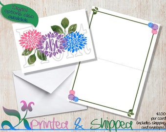 Flower Monogram Note Cards; Folded Card; Postcard; PDF; E-Card