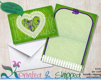 Garden Monogram Note Cards; Folded Card; Postcard; PDF; E-Card