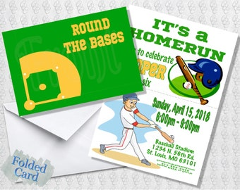 Youth Baseball Invitation; Folded Card; Postcard; PDF; E-Card