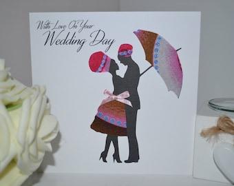 African Fabric/Wedding/Ankara/Wax Print Birthday Card - Embrace Wedding