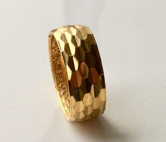 Vintage 1960 Half Crown Gold Plate Diamond Cut Ring