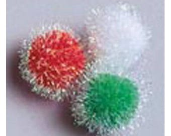 Darice Iridescent Christmas Pom Poms Multicolour 1 inch - 25mm (20pcs)