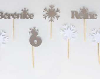 set of toppers for Queen-snowflakes - personalized name and age - snowflake