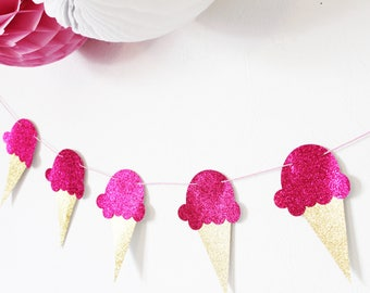 Ice cream Garland - pink fuchsia-glitter for candy bar, birthday, party table