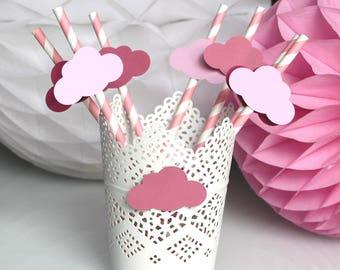 Lot de 6 Pailles nuages roses pour anniversaire enfant ou baby shower - baptême