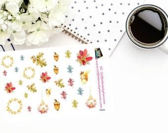 Planner Stickers|Fall Squirrel Decorative Elements|Fall Squirrel Mini Kit|Fall Stickers|Squirrel Stickers|Decorative Stickers|Leaves|FS004