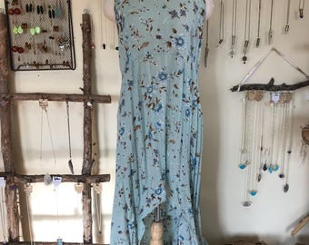 90s Blue Floral High-Low Dress Size Small