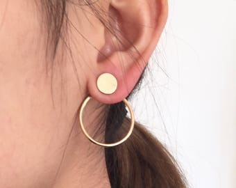 Double circle earjack earrings