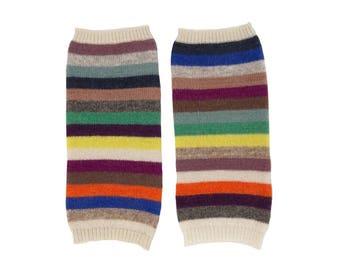 Multicolour 100% Cashmere Striped Handwarmers