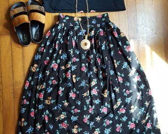 Vintage High Waist Black and Pink Floral Midi Skirt