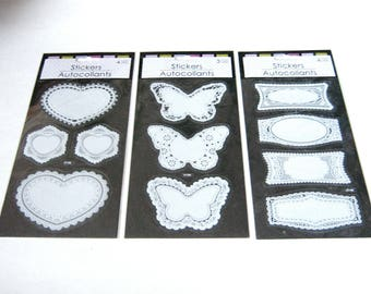 Set of 3 Fancy White Stickers, Butterfly Stickers, Heart Stickers, Label Stickers, Lace Stickers, Doilies, Scrapbook Stickers, Lace