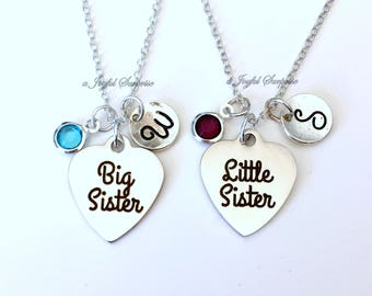 Sister Necklace Set of 2, Silver Sister Jewelry, Big Little Gift for Family Siblings Charm Custom Birthstone Initial personalized Girl her