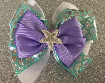 Little Mermaid Bow Ariel Hair Bow with Rhinestone Starfish Purple Mermaid Bow Disney Princess Bow Aqua Mermaid Bow with Fish Scale Ribbon