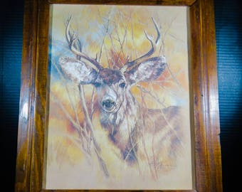 """Framed K Maroon Print Silent Buck Signed Dated 1978 Matted 24"""" x 20"""" Nature Woods Deer"""