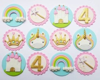 24 x fairytale unicorn princess inspired fondant Cupcake toppers