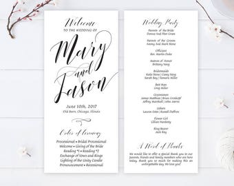 Simple Wedding Programs Cheap Printed On White Premium Paper Calligraphy For