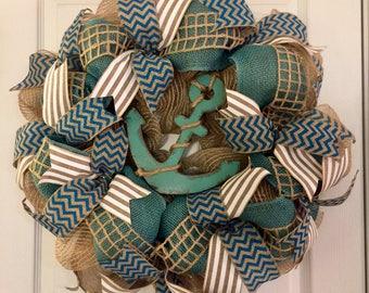 Nautical Wreath, Summer Wreath, Anchor Wreath, Teal Burlap Wreath, Summer Burlap Wreath, Nautical Decor, Beach House Wreath, Anchor Decor