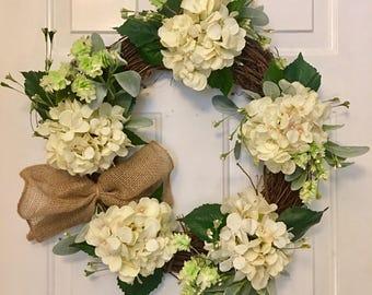 Hydrangea Wreath, Hydrangea Anytime Wreath, Anytime Wreath, Grapevine Hydrangea Wreath