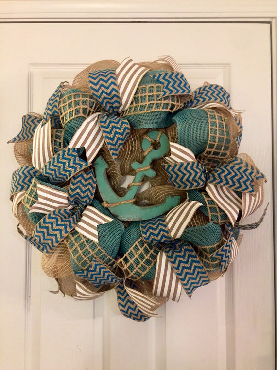 Nautical Wreath, Summer Wreath, Anchor Wreath, Teal Burlap Wreath, Summer Burlap Wreath, Nautical Decor, Beach House Wreath, Anchor Decor