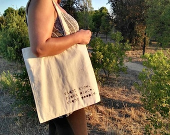 Cotton tote canvas bag shopper. Right time, right place, right people.