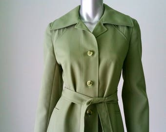 70s All Weather Trench Coat | Fit and Flare Rain Coat | Large Lapels | Green Trench Coat | Single Breasted | Travel Clothing |