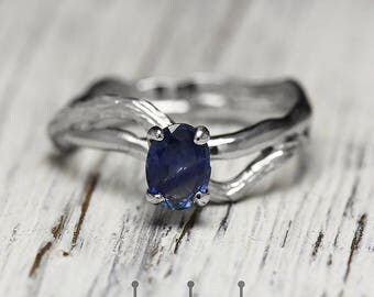 """Gold sapphire ring, white gold ring, gold sapphire band. Blue sapphire ring """"Lignum"""" from brothers Kochut."""