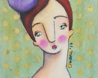 Femeneta - Bernadette, An Original Mixed Media Painting by ChiarArtIllustration