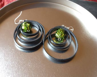 Origami earrings Japanese and spiral of inner tube jewelry
