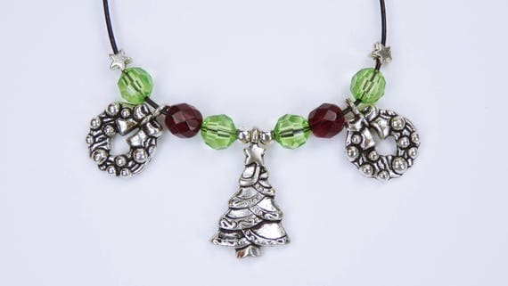Christmas Necklace-Christmas tree and Advent wreath green and red pearls on black leather strap green red Tree Christmas
