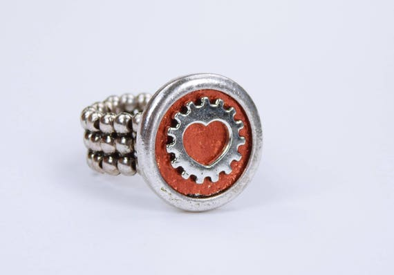 Ring Heart gear Steampunk ring in copper-metallic red with silver-colored gear-steampunk gears with elastic ring ribbon red heart