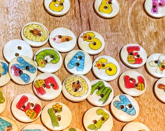 2 hole cute wood buttons, mixed buttons,15mm buttons, letter buttons, sewing, craft buttons, scrapbooking, pack of 10 or 20 buttons
