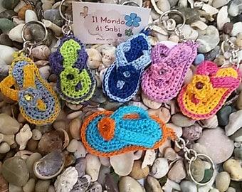 Key chains, charms, slippers, flip flops, mignon, crochet
