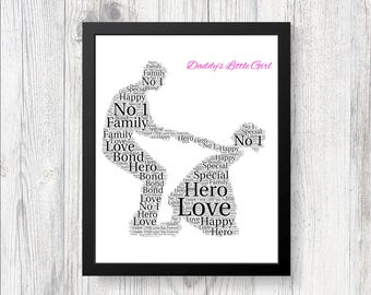 Personalised Fathers Day Word Art Print Gift Worlds Best Dad Daddy Grandad Son Dad Daughter Dancing Different sizes available