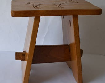 Wooden Stool Engraved with a Donkey Lovely Condition Sturdy