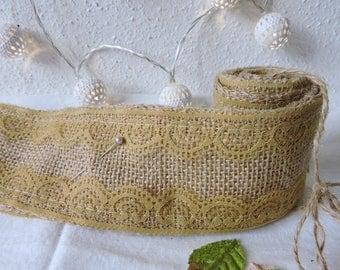 Burlap with beige lace Ribbon